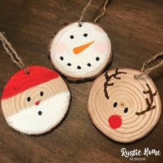 Make your Christmas tree, and those of your family and friends, stand out this year with these adorable one of a kind hand painted wood slice ornament. Holiday Wood Crafts, Rustic Christmas Ornaments, Wood Ornaments, Christmas Crafts For Kids, Homemade Christmas, Christmas Projects, Kids Christmas, Holiday Crafts, Christmas Quotes