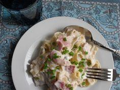 Receta Plato : Mafaldas con salsa de queso y bacon por Cocinar es ponerse