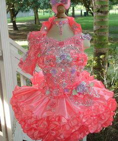 National Glitz Pageant Dress Custom Order by by NanaMarieDesigns. , via Etsy. I LOVE the coral, but not the lavender.