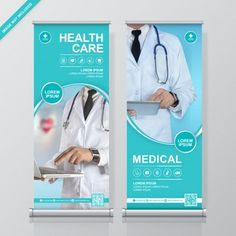 Healthcare and medical and flat icons roll up design, standee and banner template decoration for exhibition, printing, presentation and brochure flyer concept vector illustration , Medical Brochure, Business Brochure, Rollup Design, Travel Agency Logo, Standee Design, Banner Design Inspiration, Medical Posters, Rollup Banner, Graphic Design Brochure