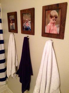 Great towel hanger for boys bathroom. Rustic photo frames.
