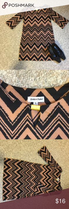 Chevron Dress Black and brown Chevron Dress. In EUC! I wore black boots with it, but would look cute with black sandles too 😊 Shelby and Palmer Dresses Midi