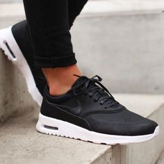 Nike Black Leather Premium Air Max Thea Sneakers •The Nike Air Max Thea Women's Shoe is equipped with premium lightweight cushioning and a sleek, low-cut profile for lasting comfort and understated style.   •Women's size 9.5,  true to size.   •New in box (no lid).   •NO TRADES/PAYPAL/MERC/VINTED/NONSENSE.  •PRICE IS FIRM. Nike Shoes Sneakers