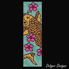 Carp 2 Beaded Peyote Bracelet Cuff Pattern by FUNPATTERNDESIGNS