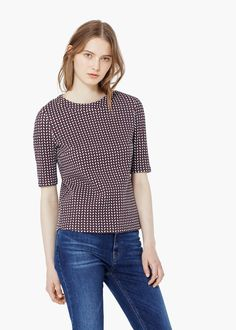 Geometric pattern cotton top - T-shirts for Women | MNG