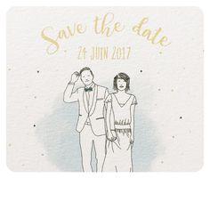 """Et un """"Save the Date"""" de plus! Je suis ravie de dessiner ces beaux mariés!!! Ça donne envie de se remarier... #wedding #mariage #fairepartmariage #weddingcard #savethedate #illustration #lpmdc #rennes"""