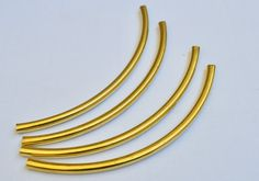 5 Pieces Raw Brass 4,5x110 mm Very Long Curved Flat  Brass Tube