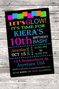 Glow Neon Birthday Party Invitation with free Thank by Design13 More