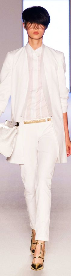 Aigner Collection Spring 2015 Ready to wear Gold Fashion, White Fashion, Womens Fashion, Fashion Trends, White Outfits, Stylish Outfits, White Chic, Spring Summer 2015, Couture Fashion