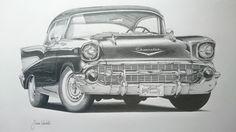 by simwar on DeviantArt Rockabilly, Chicano, Hot Rod Tattoo, 57 Chevy Bel Air, Car Tattoos, Truck Art, Vintage Drawing, Car Illustration, 1957 Chevrolet