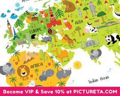 Kinder Welt Karte Poster einzigartige Baby-Geschenke erste