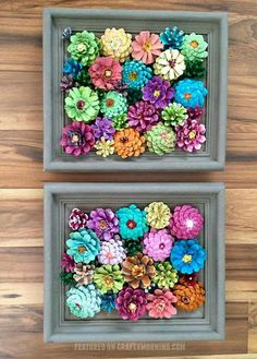 FRAMED FLOWER PINECONES...this is gorgeous!! (Thx, Dianne!)  Directions...http://www.craftymorning.com/pinecone-flower-frame