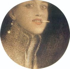 The Cigarette by Fernand Khnopff, Belgian Symbolist painter Contemporary Artists, Modern Art, Rose Croix, Jean Leon, Art Database, Figure Painting, Artist Art, Art History, Graphic Art