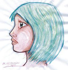 """M.REDONDO- Comics: * Eva (acuarela): Protagonista del Comic """"Única"""""""