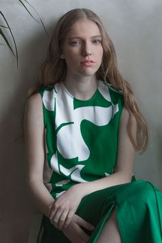 H&M Studio SS18 exclusive fashion editorial magazine Photo, styling, make-up & hair by Edi Enache Model: Tiana Cornea from Models Under Management trends, ss18, summer, spring, h&M, green, plants, botanical, garden, bottle green, blue eyes, blonde model,