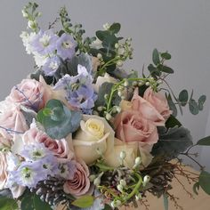 Bridal Bouquet, touches of blue, delphinium, lovely, romantic Boquette Flowers, Pretty Flowers, Spring Flowers, Special Flowers, Aesthetic Room Decor, Beige Aesthetic, Stylish Home Decor, Event Decor, Floral Design