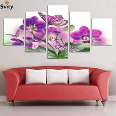 ==> [Free Shipping] Buy Best 5 Piece Free Shipping Cheap abstract Modern Wall Painting purple pink flower Home Decorative Art Picture Paint on Canvas Prints Online with LOWEST Price   32457596228