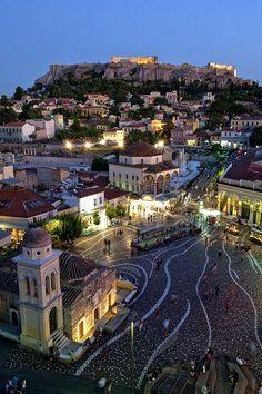 A Lovely Evening in Monastiraki Square under the Acropolis - Athens, Greece