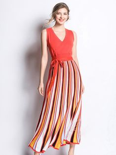 Shop for the Striped Binding Bow Sleeveless Knitted Dress online now offer the latest fashion Striped Binding Bow Sleeveless Knitted Dress with top quality Knit Dress, Lace Dress, Summer Outfits Women, Prom Dresses, Formal Dresses, Mori Girl, Dress Brands, Pattern Fashion, Striped Dress