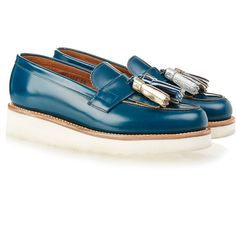 a85dca75549 Grenson Clara Teal Rub Off Tassel Loafer (7.270 RUB) ❤ liked on Polyvore  featuring