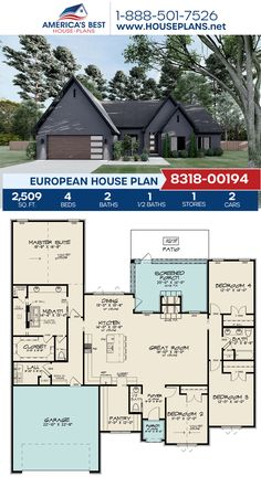 Plan 8318-00194 outlines a European home design with 2,509 sq. ft., 4 bedrooms, 2.5 bathrooms, split bedrooms, a kitchen island, an open floor plan, and a screened-in porch. #euorpean #architecture #houseplans #housedesign #homedesign #homedesigns #architecturalplans #newconstruction #floorplans #dreamhome #dreamhouseplans #abhouseplans #besthouseplans #newhome #newhouse #homesweethome #buildingahome #buildahome #residentialplans #residentialhome