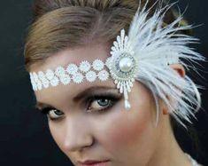 style headdress great gatsby style ivory by Thehandmadetiara, Great Gatsby Headpiece, Flapper Headpiece, Flapper Headband, Bridal Headdress, Gatsby Style, Flapper Style, 1920s Style, 1920s Looks, Great Gatsby Fashion