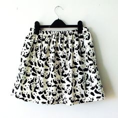 Cute Black and White Panda Skirt with Satin Lining by FionaElizabeths, £16.00