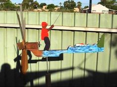 """Thanks to Anders S. Lunde book """"Action Whirligigs"""" I got started & finished the Fishing Man project. Man Projects, Wooden Projects, Projects To Try, Wood Toys Plans, Yard Ornaments, Fish Man, Wind Spinners, Windmill, Art Tutorials"""