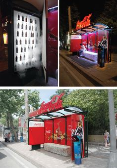 Coca Cola Refrigerator Bus Stop Advertisement: These cool bus stops with a built in fridge were installed to mock up a real one, covered with ice all over. The bus top had an ice bench and a stall with Coca Cola bottles put onto frosty shelves.