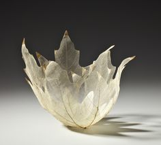 Kay Sekimachi, skeleton leaf bowl  Pale Yellow