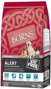 Burns Alert with Chicken Brown Rice Dog Food 6kg Burns Alert with Chicken Brown Rice Dog Food features increased levels of antioxidants and added  salmon oil which make the Burns Alert range ideal for dogs performing tasks that require them to be calm, alert and attentive.