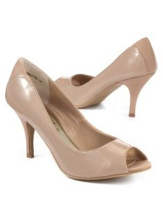 ALDO Beige Heels Nude Peep Toe Pumps Patent Leather Small Womens