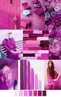 FV contributor, Pattern Curator curates an insightful forecast of mood boards & color stories and we are thrilled to have them on board as our newest FV contributor. They are collectors of images and Palettes Color, Colour Schemes, Color Trends, Color Patterns, Color Combinations, Fashion Design Inspiration, Color Inspiration, Rose Fuchsia, Magenta