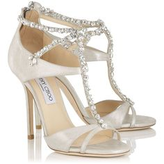 FAIZA (1,295 BAM) ❤ liked on Polyvore featuring shoes, sandals, white sandals, white shoes, jimmy choo sandals, jimmy choo and genuine leather shoes
