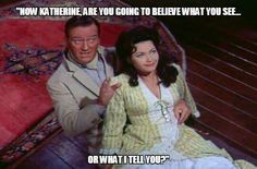 John Wayne-Yvonne De Carlo in McLintock! Hollywood Actor, Golden Age Of Hollywood, Hollywood Stars, Classic Hollywood, Vintage Hollywood, Yvonne De Carlo, John Wayne Quotes, John Wayne Movies, Maureen O'hara