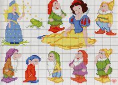 Biancaneve e i sette nani snow white & the seven dwarfs вышивка крестом Disney Cross Stitch Patterns, Cross Stitch For Kids, Cross Stitch Baby, Cross Stitch Charts, Cross Stitch Designs, Disney Stitch, Cross Stitching, Cross Stitch Embroidery, Magia Do Crochet