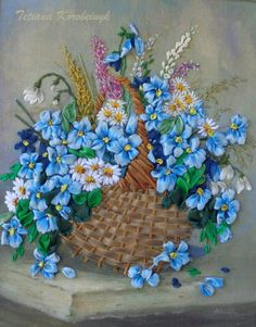 Picture Wild flowers 2 embroidered by SilkRibbonembroidery on Etsy