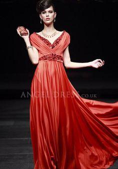 Floor Length A line V Neck Natural Waist Elastic Silk Like Satin Short Sleeve Evening/ Prom Dress