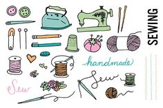 Sewing Doodle Clip Art by Pepper on @creativemarket