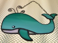 Turquoise Ombre Stained Glass Whale, Friendly Cute Whale Suncatcher with Iridescent White Glass by TheCraftingColes on Etsy