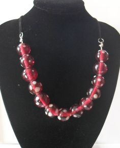 Pink & White Polka Dot Glass Beaded Ball by JustJoJewellery, £8.00