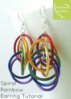 Rainbow Spiral Hoops Earrings Tutorial - Colorful, Easy and Perfect for the Beginner - Expert PDF