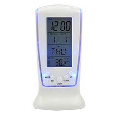 EXIU Mini Digital Backlight Alarm Clock LED Display with Date Week Calendar Temperature >>> Visit the image link more details.