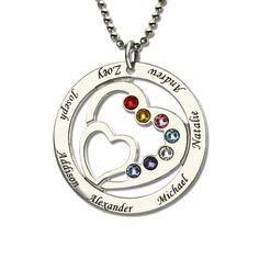 Personalized Heart in Heart Birthstone Necklace