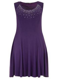 Scarlett  amp  Jo Purple Embellished Neckline Dress - New In Petite  Outfits ede23ac78caf6