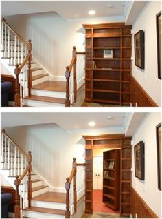 Total surprise. Looks like a way to use the wasted space at the end of the stairs and turns out to be a secret door!