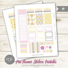 Free Printable Pretty Posies Planner Stickers from Vintage Glam Studio