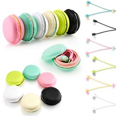 Listen to your music with these noise cancelling Gearonic earbuds headset that comes with an adorable macaroon case for your iPhone, Samsung, MP3, iPod, and PC Music.