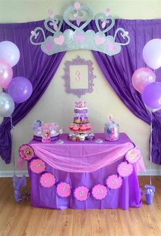 Sofia the First Party Decoration Ideas . Lovely sofia the First Party Decoration Ideas . Food Table with Lit Background Elegant sofia the First Princess Sofia Birthday, Princess Birthday Party Decorations, Sofia The First Birthday Party, 4th Birthday Parties, 3rd Birthday, First Birthdays, Ideas Manualidades, Fiesta Ideas, Party Service