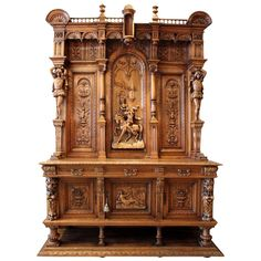 Late 19th Century Antique Italian Hand-Carved Renaissance Revival Court Cabinet